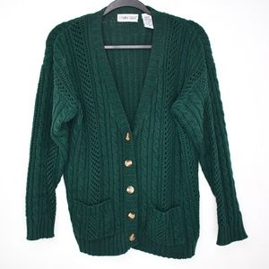Vintage Hunter Green Cable Cardigan Sweater